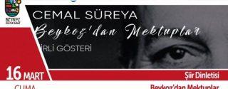 Beykoz'dan Mektuplar Cemal Süreya afiş