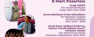 8 Mart Kadınlar Günü Kartal Belediyesi Etkinlikleri afiş
